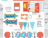 Cat in the Hat Printable Party Package - Gender Neutral - Customize with age and name!