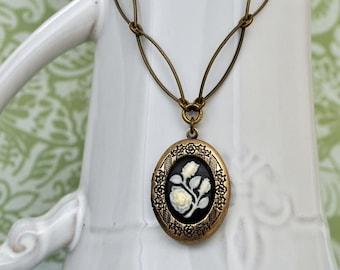 antiqued brass locket, floral locket, VINTAGE ROSE, vintage style floral locket necklace with vintage lucite rose flower cab