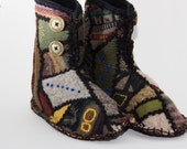 Woodland slipper boots 2 upcycled wool sweater fabric handmade