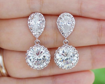 Bridal Earrings Round Cubic Zirconia Drop Earrings Dangle Earrings Wedding Jewelry Bridesmaid Gift Bridal Jewelry Earrings (E-B-0125)