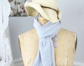 Lush, hand-crocheted scarves made from repurposed cashmere sweaters (in pale blue)