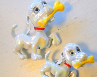 White Enamel Mother Dog and Pup Bones Scatter Pins Brooches