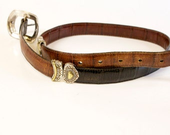 Vintage Leather Belt - Reversible black and brown size small (28)