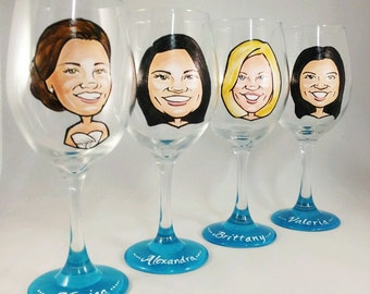 Custom Maid of Honor Gift - Hand Painted Bridesmaid Wine Glasses - Original Custom Caricature Glasses (tm) -  Personalized