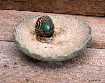 Handmade Ceramic Ring Dish with  shabby vintage charm