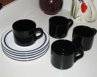 Four Dansk deep blue Bistro cups with saucers, REDUCED