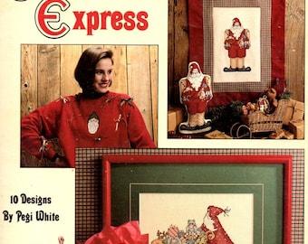 Sugarplum Express Christmas Santa Claus Reindeer Snowman Ornament Miniature Counted Cross Stitch Embroidery Craft Leaflet 2053 Leisure Arts