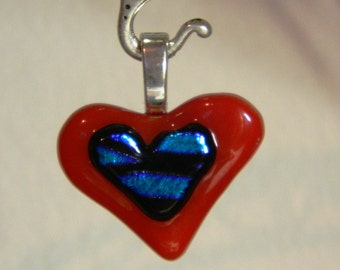 Dichroic Blue Glass Heart  Fused Onto a Red Heart  Pendant,