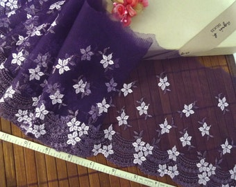 Embroidered lace, lace trim, embroidered trim, tulle lace, tulle trim, Violet lace, net lace, 2 yards VT096