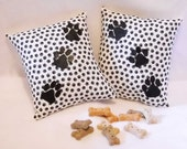Dog Paw Print Pillow Pair -  Pillows for Dog Lovers -  Small Black and White Pillows