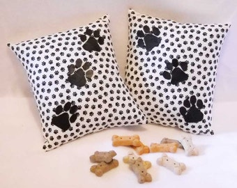 Dog Paw Pillow Pair -  Leather Paw Print Pillows for Dog Lovers