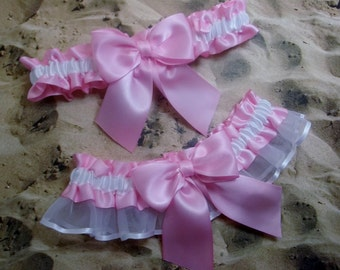 Candy Pink Satin White Satin Organza Wedding Bridal Garter Toss Set