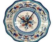 Plate Clock, Wall Decor,  Wall Clock,  Kitchen Clock, Mediterranean Home Decor - 1828