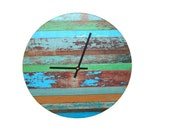 Rustic Wall Clock, Faux Chipped Paint Wood Wall Clock, Turquoise Green Brown, Unique Wall Decor - 1751