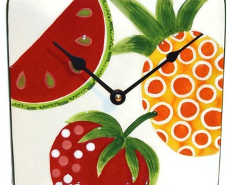 ON SALE - Watermelon Wall Clock, Watermelon Clock, Fruit Wall Clock, Fruit Clock, Unique Wall Clock, Unique Kitchen Clock  No 564 (8 inches)