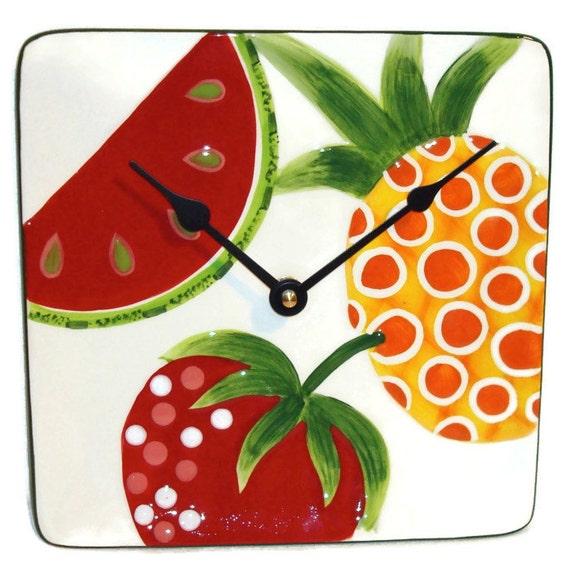 ON SALE - Watermelon Wall Clock, Watermelon Clock, Fruit Wall Clock, Fruit Clock, Unique Wall Clock, Unique Kitchen Clock  No 564 (8 inches)