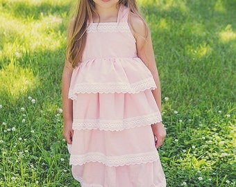Serenity Pink, ruffles and lace reverse knot dress, sizes 12mos.-10 girls
