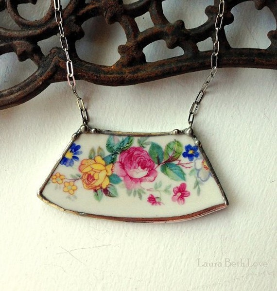 Broken china jewelry broken plate necklace Pink and yellow rose vintage porcelain made from a broken plate