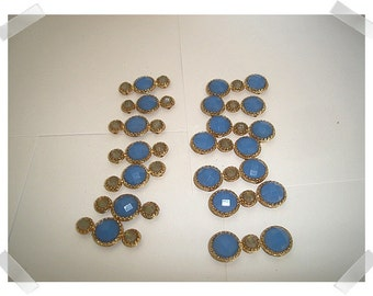 Embellishments/Blue & Gold tone Beads/Craft Supplies*
