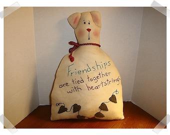 Primitive Bear Shelf Sitter/Felt & Muslin Fabric/ Hand Embroidered*