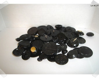 Black Buttons Assorted Lot / 2 & 4 Holes/ Shank/ Craft Supplies/(#225)*