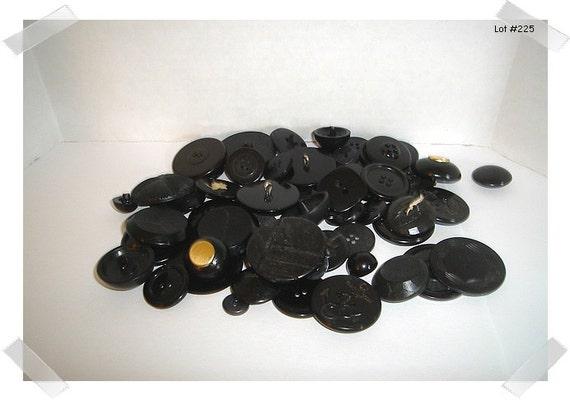 Black Buttons Assorted Lot / 2 & 4 Holes/ Shank/ Craft Supplies/(#225)*