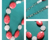 Chunky Pink Flower with Hot Pink Oval Bead Necklace