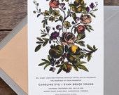 Floral Wedding Invitation, Flower Wedding Invitation, Vintage Botanical Wedding Invitation, Letterpress Wedding, Victorian Flower Invitation