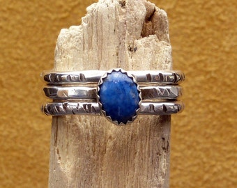 Denim Lapis Stacked Rings in Sterling Silver - Size 8