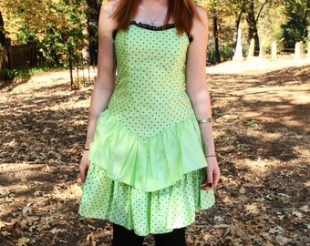 ELECTRIC LIME - 1980s Party Dress Polka Dot Punk Rock Madonna Black Lime Polka Dot Lace Retro Criss Cross Straps Corset Back Small S