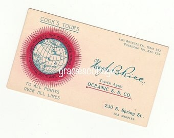 c1881-1926  Business Card Cook's Tours Oceanic Steamship Co Los Angeles Pasadena CA      #889