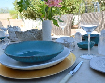 ceramic dinner plates dinnerware in turquoise. Black Bedroom Furniture Sets. Home Design Ideas