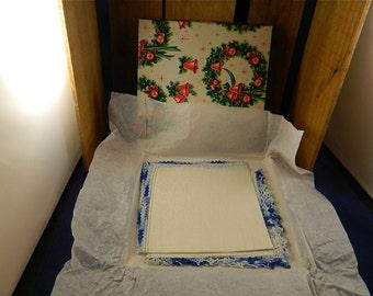 "Vintage Linen Hankies,SALE, Two Unused with Hand Crocheted Edges in Original Christmas Hankie Box, Great Bridal Gift, ""Something Blue"""