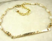 Petite luminous pearl Wire Worked 14K Gold Fill bracelet minimal simple everyday jewelry Spring Fashion bridal