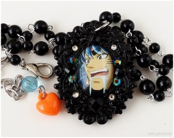 Toriko Anime Necklace, Beaded, Rosary Chain, Black, Domed Glass Pendant - Japanese Kawaii