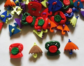 20 pcs -  Vintage telephone and umbrella shank button -  mix color