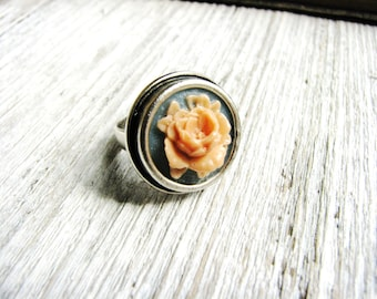 Flower Ring Peach Blue Nature Inspired Jewelry Gardener Naturalist Gift Ideas Silver Pewter Delicate Botanical Adjustable Simple Minimalist