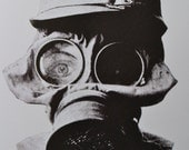Bizzare WW2 Gas Mask -Blank 4x6 Quality Greeting Card-Steampkunk-Military