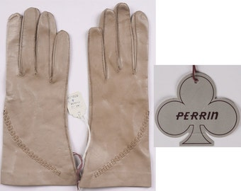 1960s Beige Leather Gloves by Perrin  NOS