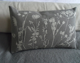 hand printed muted grey linen meadow cushion cover