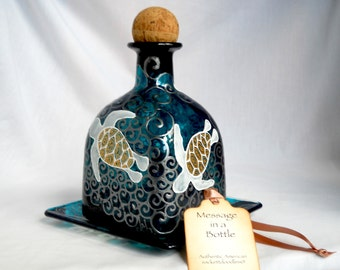 Sea Turtle Glass Art Decanter Hand Painted Patron Bottle