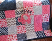 Reserved For Jenna/Baby Girl Quilt/Modern Patchwork Baby Quilt/Personalized/Hot Pink/Gray/Baby Pink/Mint/Personalized/
