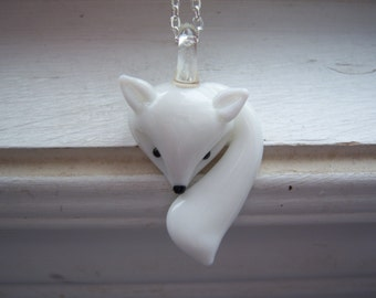 Fox Necklace - White Fox Necklace  - Arctic fox necklace-Free Gift With Purchase