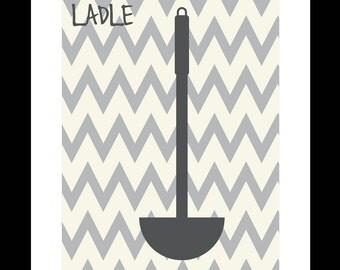 Utensil Chevron Kitchen Print - Ladle