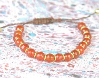 SALE-Carnelian and sterling silver  vermeil bracelet
