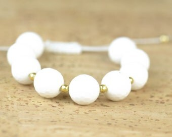 SALE-White Agate and sterling silver  vermeil bracelet