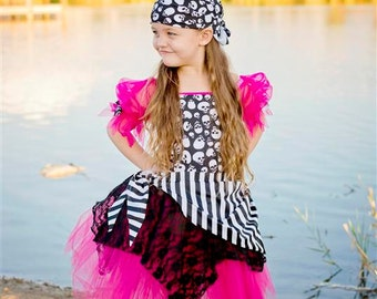 Custom Boutique Hot Pink skull Pirate tutu Dress costume 6 halloween costume