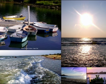 West Falmouth Dories, beaches and sunset digital photo collage