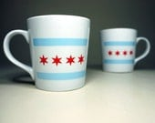 large mug with the Chicago Flag. ready to ship.