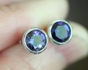 Genuine Iolite Sterling Silver Ear Studs, No Nickel Studs, Water Sapphire, Birthstone, Gemstone, Earrings, Screw Back - Made to Order